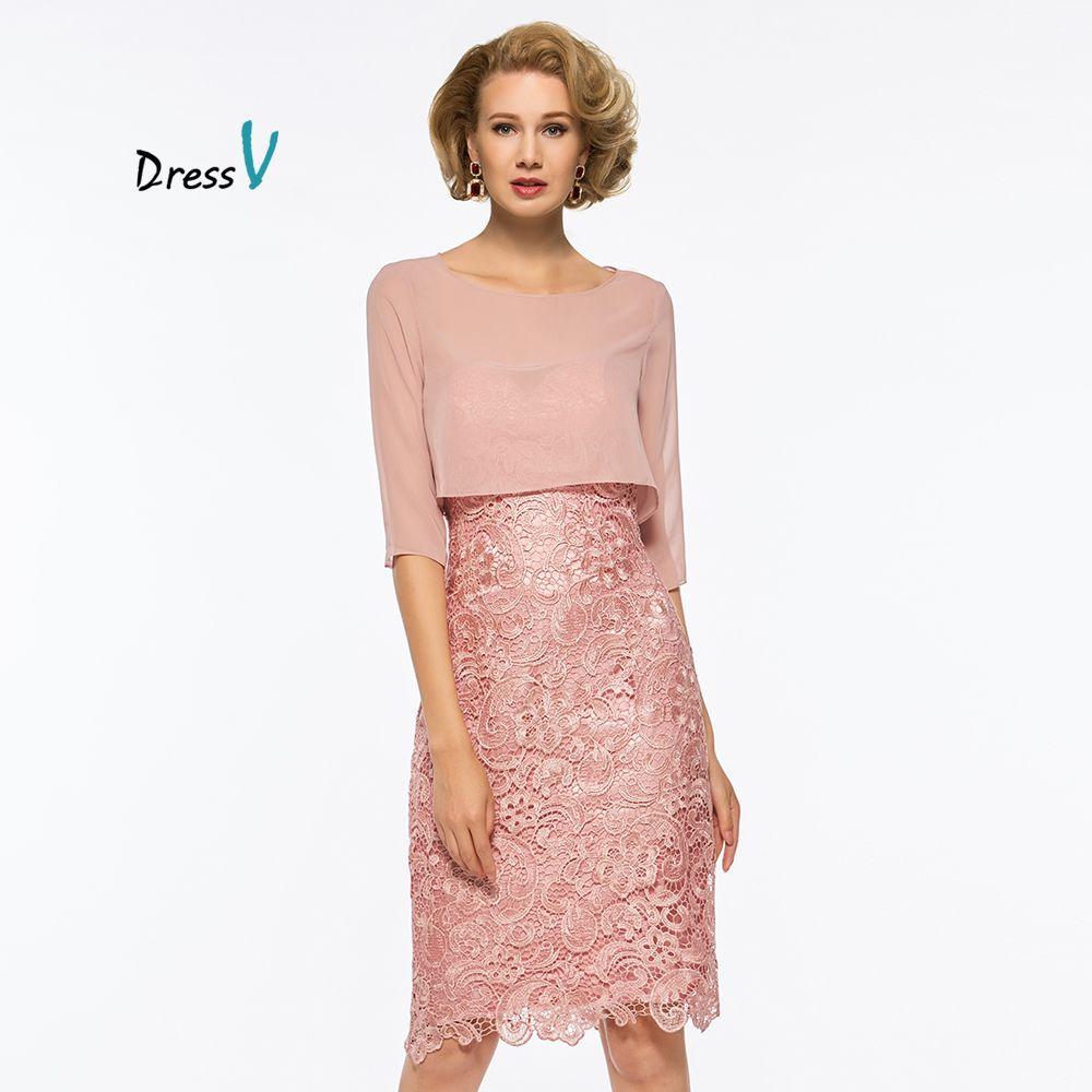 Dressv pink mother of the bride dress scoop neck half sleeves knee length wedding party formal sheath customize dresses