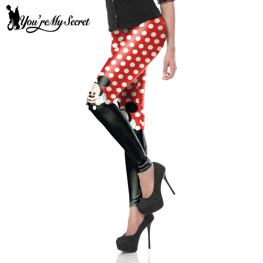 [Youre mon Secret] nouveauté mignon Mini souris point rouge imprimé Sexy Slim Fitness cheville genou longueur Leggings pour les femmes