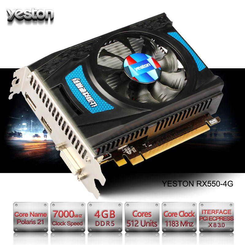 Yeston Radeon RX 550 GPU 4 GB GDDR5 128bit Gaming Desktop-computer PC Video Graphics Karten unterstützung DVI-D/HDMI2.0B PCI-E 3,0