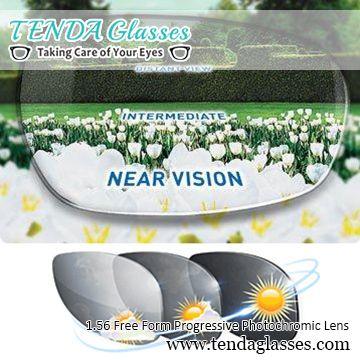 1,56 Бесплатная форма Multifocal Рецепт Солнцезащитные очки для женщин переходная линза фотохромные прогрессивные линзы