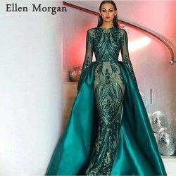 Saudi-arabien Langen Ärmeln Meerjungfrau Abendkleider 2019 Dubai Kaftan Muslimischen Dark Grün Glitter Stoff Formal Prom Party Kleider