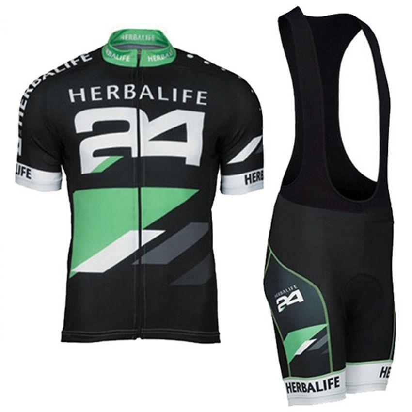 HOT! Classique Noir HERBALIFE Vélo Jersey À Manches Courtes D'été Maillot Ciclismo Hommes Haute Qualité Bib Shorts VTT Vélo Vêtements ensemble