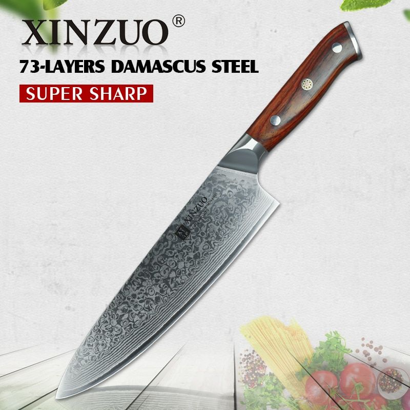 XINZUO 8'' inch Chef Knife vg10 Damascus Steel Kitchen Knives Stainless Steel Gyutou Slicing Knife Cultery with Rosewood Handle