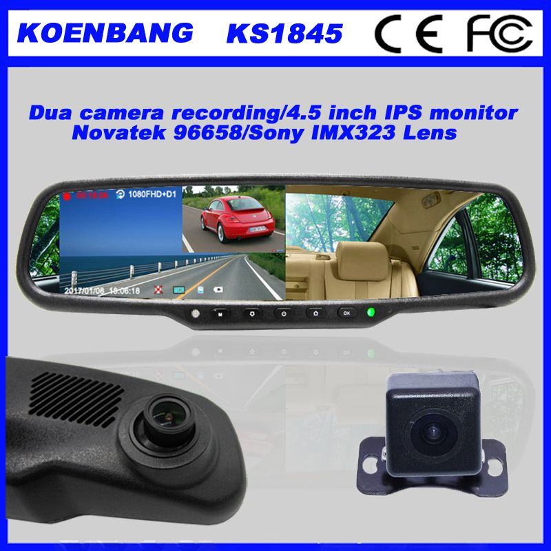 KOENBANG Full HD 1080P 150Degree 4.5 Inch IPS Screen Car DVR Video Recorder Parking Rear View Rearview Mirror Monitor