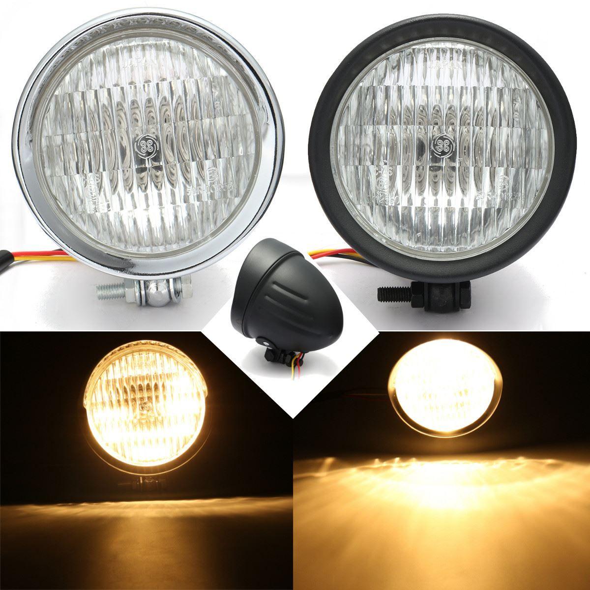 Chrome Black Motorcycle Headlight Head Light Lamp Hi/Lo For Harley /Bobber /Chopper /Touring