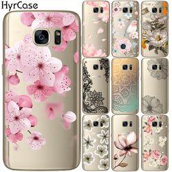 Sexy Motif Floral Doux TPU Silicone Téléphone Cas Couverture Arrière Pour Samsung Galaxy S5 Mini S6 S7 Bord S8 S9 Plus Fleur Coque