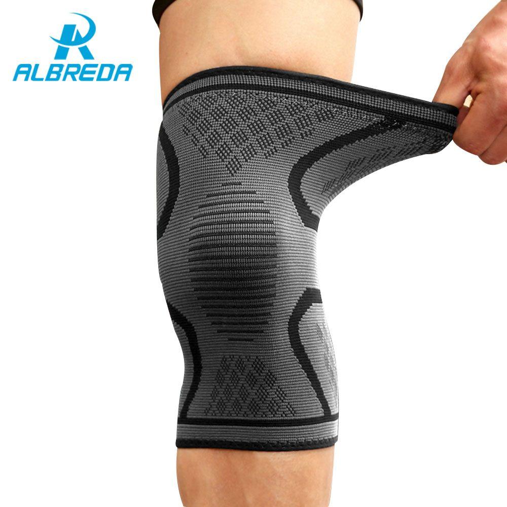ALBREDA Nylon Basketball Beinmanschette Outdoor Sports Fahrrad Lauf Compression Ärmel Stretch Legging Unterstützung rutschfeste knie pad