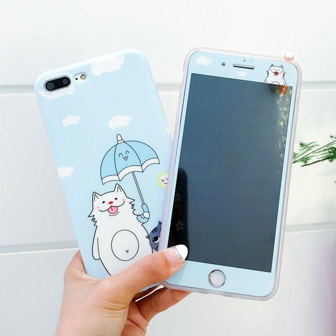 Für iPhone 7 7 Plus fall Gehärtetes Glas film für iPhone7 6 s Plus fall TPU abdeckung Sailor Mond kaninchen nette Karikatur-schutzfolie