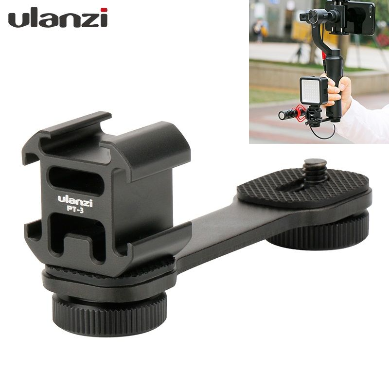 <font><b>Zhiyun</b></font> Smooth 4 Accessories Triple Hot Shoe Mount Adapter Boya BY-WM4 BY-MM1 Video Microphone Extension Bar for Handheld Gimbal