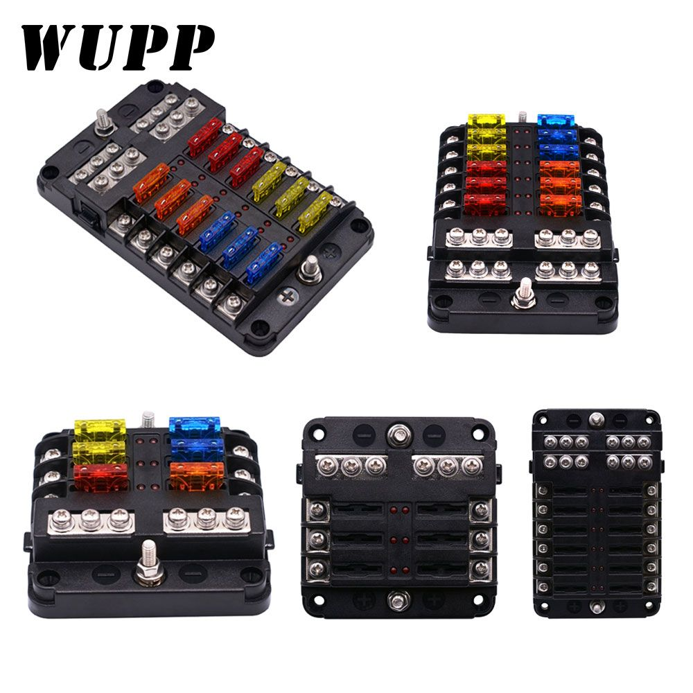 WUPP 12V 32V Plastic Cover Fuse Box Holder M5 Stud With LED Indicator Light 6 Ways 12 Ways Blade for Auto Car Boat Marine Trike