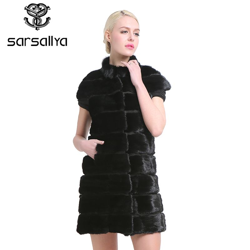SARSALLYA Fashion Slim jacket mink fur vest Real Mink Fur Vest Long Women Winter Fur Vest High Quality Mink Fur Coat for women