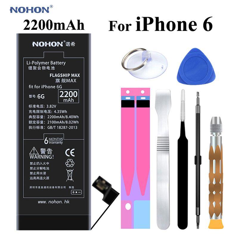 Original NOHON Batterie für Apple iPhone 6 6G iPhone6 2200 mAh Ersatz Mit Hoher Kapazität Handy Bateria mit Kostenlose Tools Kit aufkleber