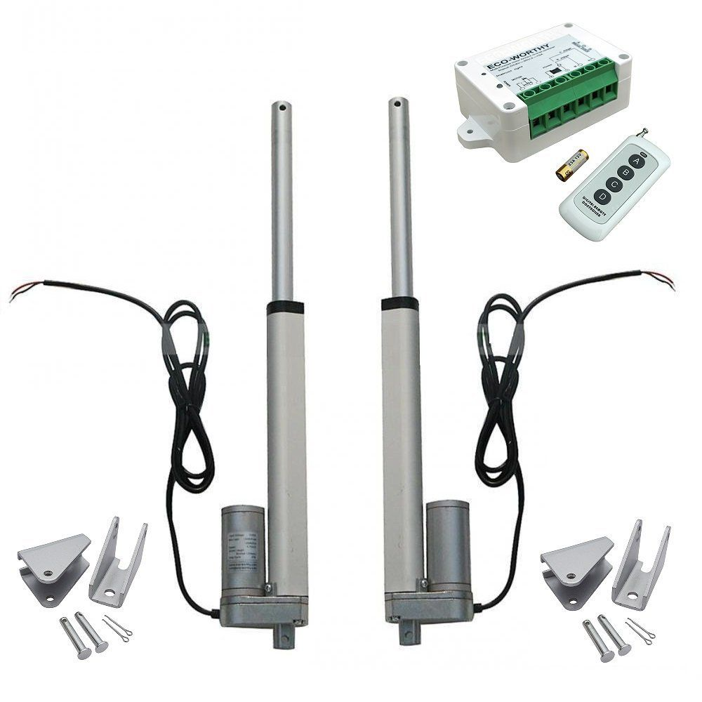 2pcs 8 Inch 8'' Stroke Linear Actuator 330 Pound Max Lift DC 12V Motor + Wireless Remote Controller Kit + Mounting Brackets