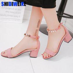 Metal cordón verano mujeres Sandalias punta abierta Zapatos sandles mujer Tacón cuadrado mujeres Zapatos estilo coreano Gladiator Zapatos m668