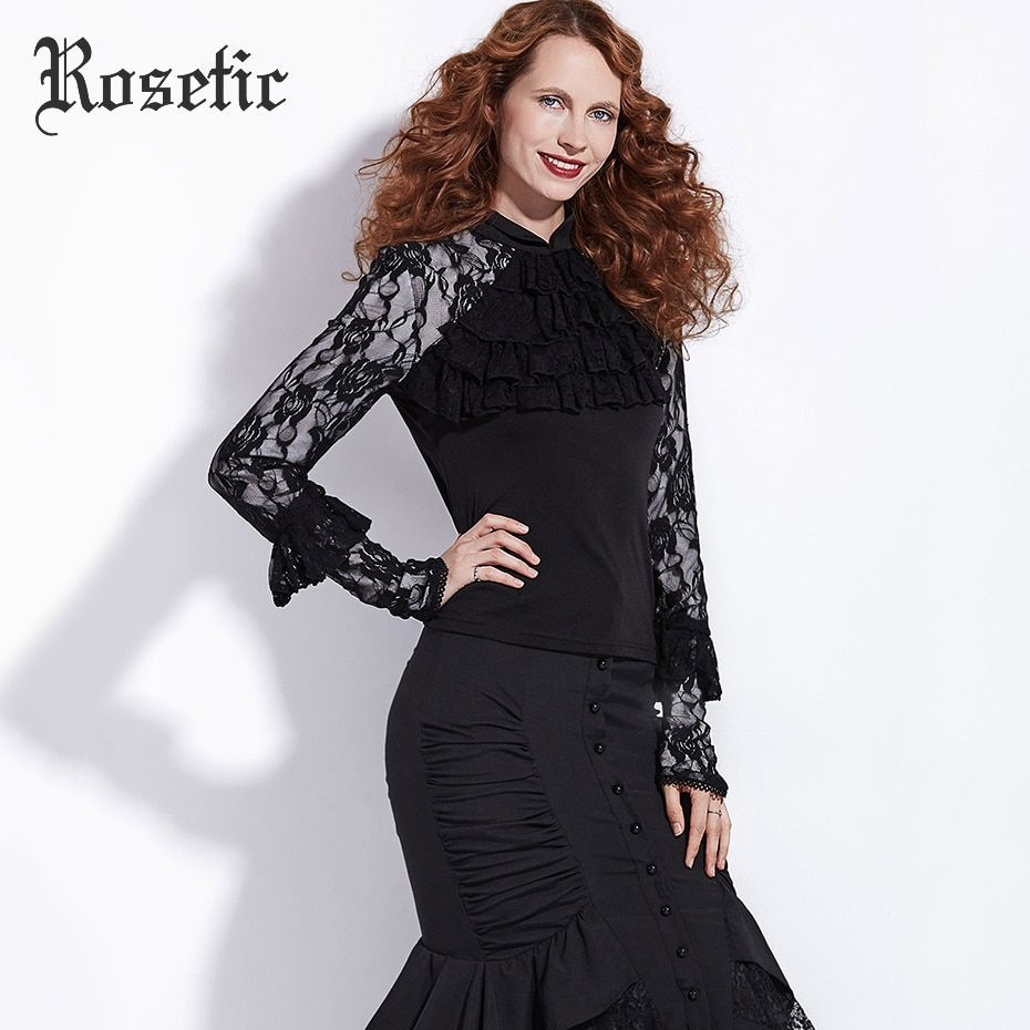 Rosetic Gothic Shirt Black Straight Women Autumn Patchwork Mesh Lace Goth Tops Retro Ruffles Fashion Vintage Goth Casual Blouses