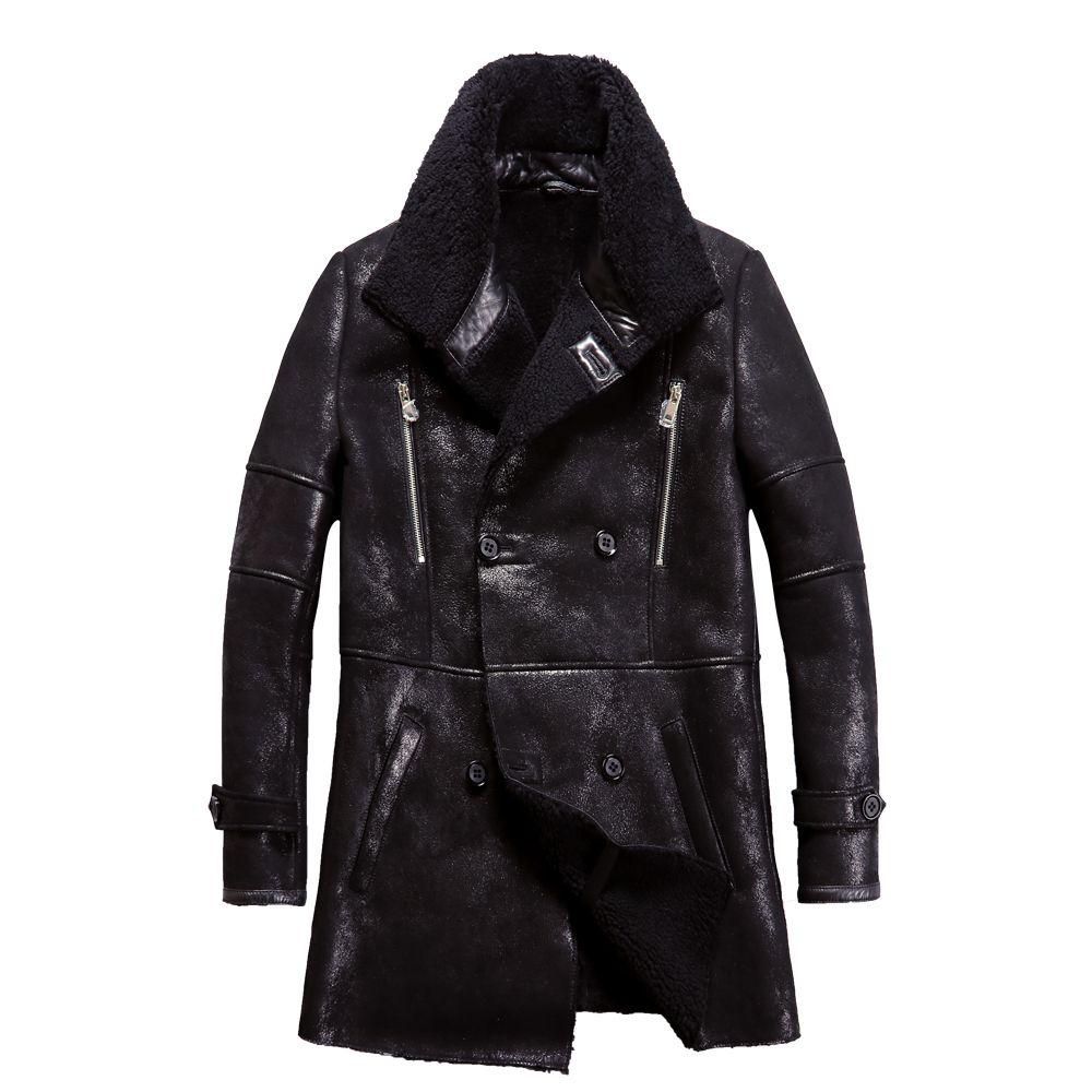Beliebte Real Schaffell Männer Mantel Echte Schafe Lammfell Jacke Männlichen Winter Warm Outwear Schwarz Männer Pelzmantel 4XL Große größe