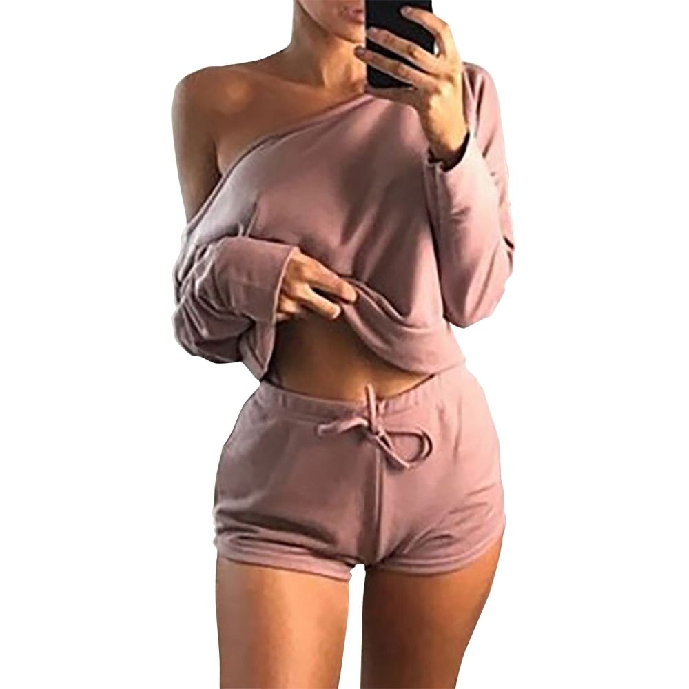 Summer 2018 Sexy Women Two Pieces Slash Neck Hoodies Tops Cotton Drawstring Shorts Lady Spring Casual Suit Plus Size <font><b>Mujer</b></font> GV366