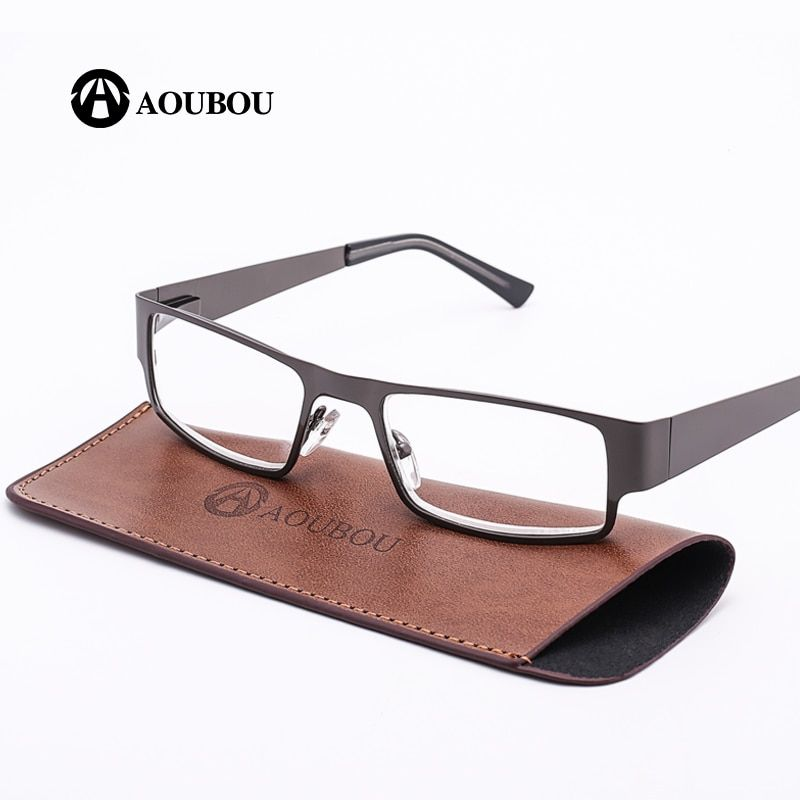 AOUBOU Brand Retro Reading Glasses Men 2.0 2.5 Anti-<font><b>fatigue</b></font> Stainless Steel Spring Hinges Frame Glasses Gafas De Lectura AB001