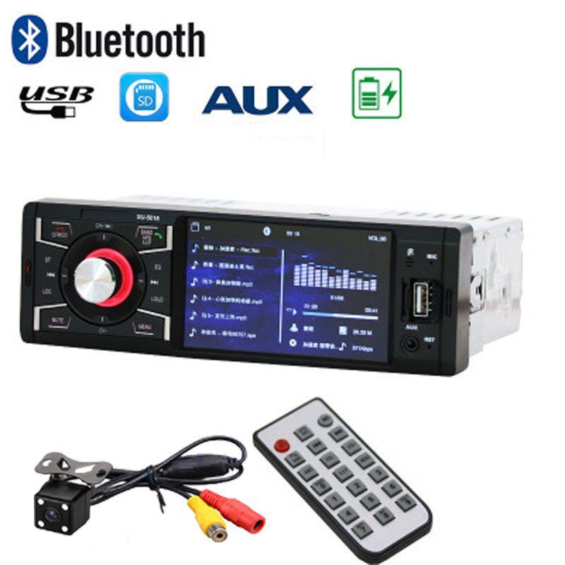 Car automagnito Monitor Stereo Radio Player Bluetooth/Audio/USB/SD/MP5 1 Din FM Wireless Remote Control with Rear View Camera