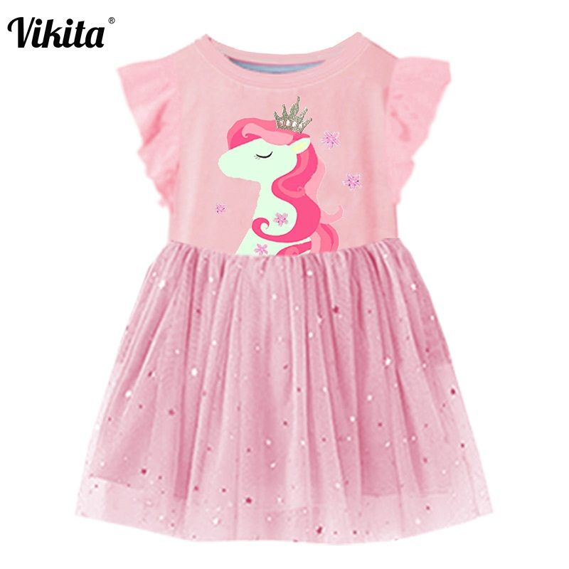 VIKITA Girls Summer Dress Flare Sleeve Girls Tutu Dresses Kids Unicorn Princess Dress Children Costumes for Kids Cotton Clothes