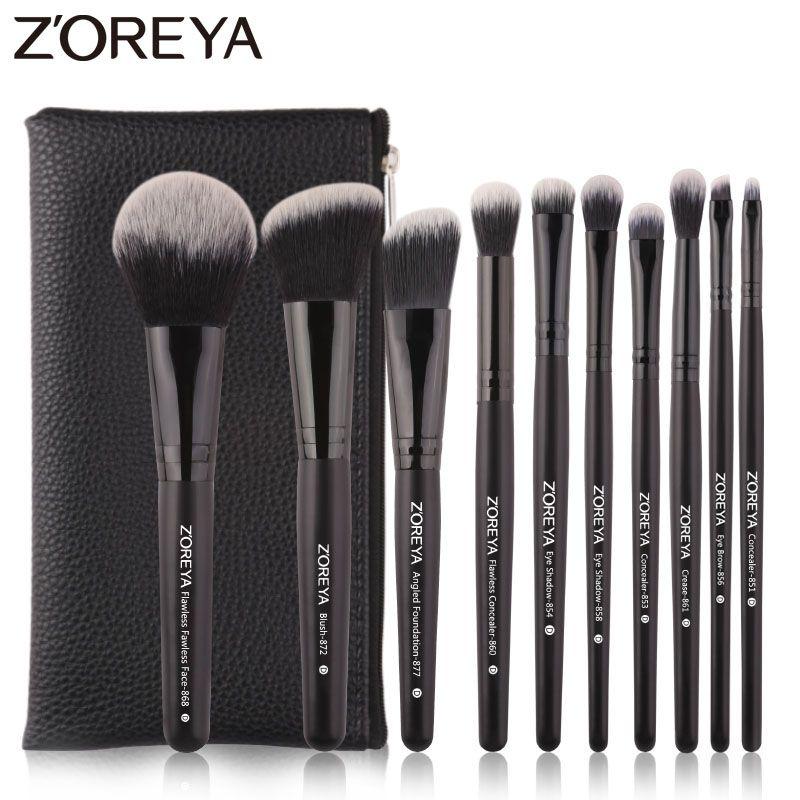 Zoreya Marke Schwarz Make-Up Pinsel 10 stücke Synthetische Fasern Kosmetische Kit Falte Augenbraue Erröten Pulver Pinsel Für Make-Up anfänger