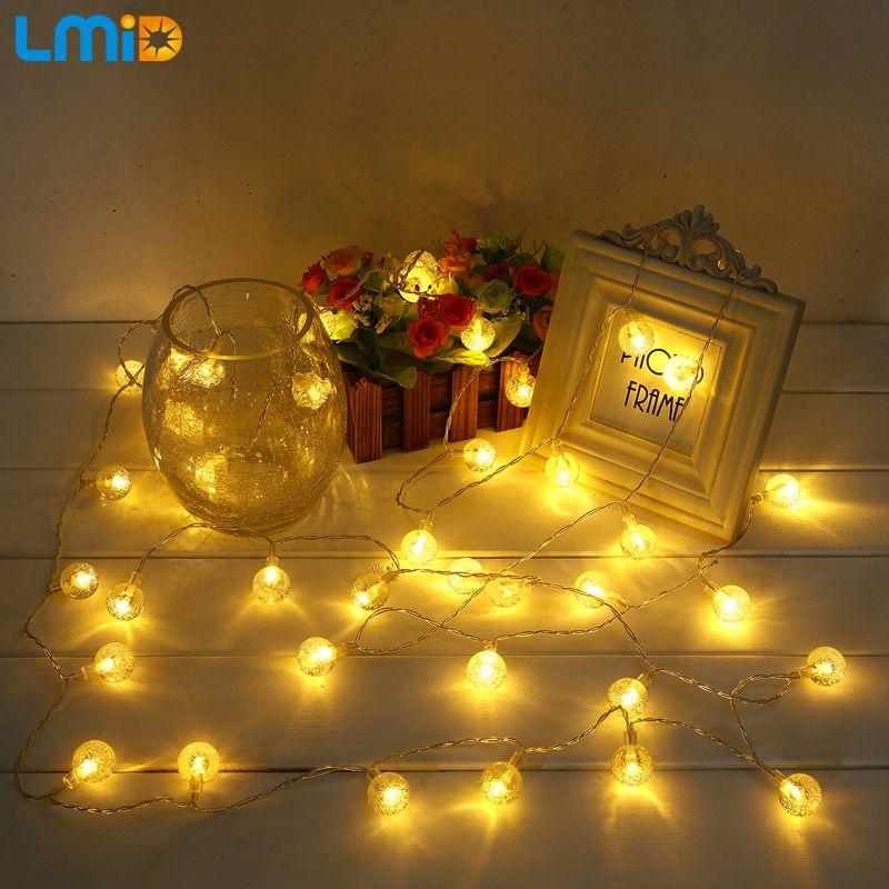 LMID 3 m 4 m Vacances Fée Batterie Exploité Lumière Boule de Cristal Clignotant LED Jeu de Lumières Pour Noël De Mariage Guirlande décoration