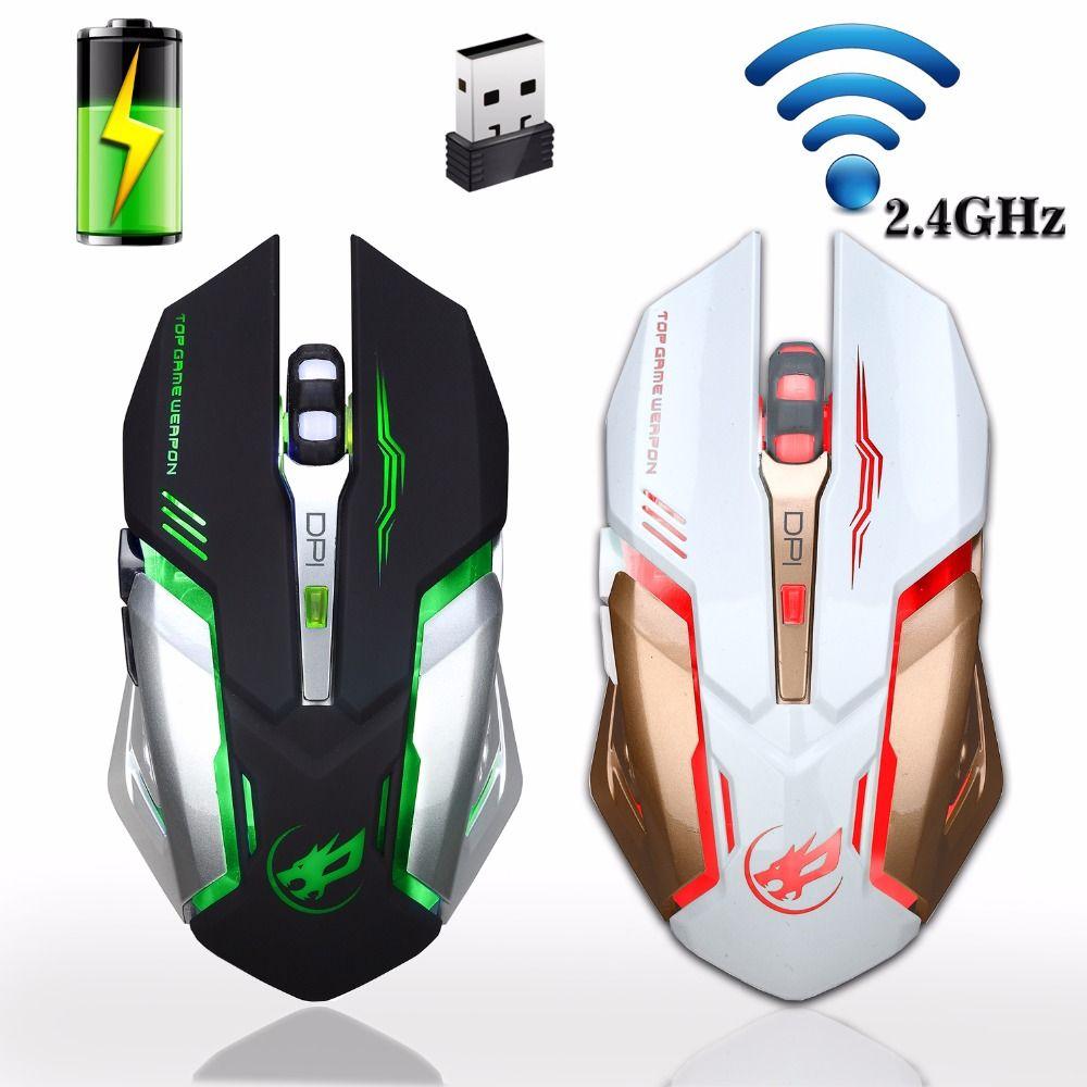 Rechargeable 2.4 GHz Sans Fil Souris De Jeu Rétro-Éclairage USB Optique Gamer Souris pour Ordinateur De Bureau Pc Portable PC