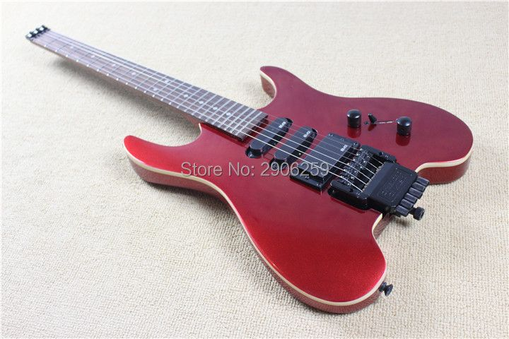 Hot sale steinberg electric guitar without headstock. real guitar picture metal red ,classical version headless guitar.free ship