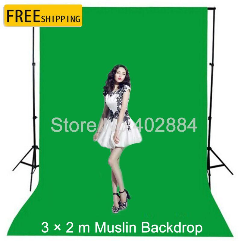 3x2M écran vert photographie Valentine toile de fond fond en mousseline de coton pour Studio Photo fond Chromakey