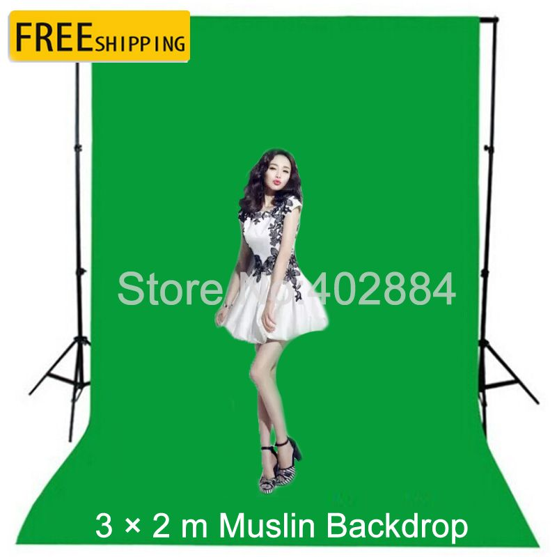 3x2M Green Screen <font><b>Photography</b></font> Valentine Backdrop Cotton Muslin Backgrounds for Photo Studio Chromakey Studio Photo Background