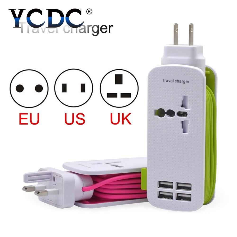 YCDC qualité pour Smartphone prise murale chargeur multiprise 4.3ft cordon d'alimentation 4 Ports USB une prise voyage maison US EU UK prise