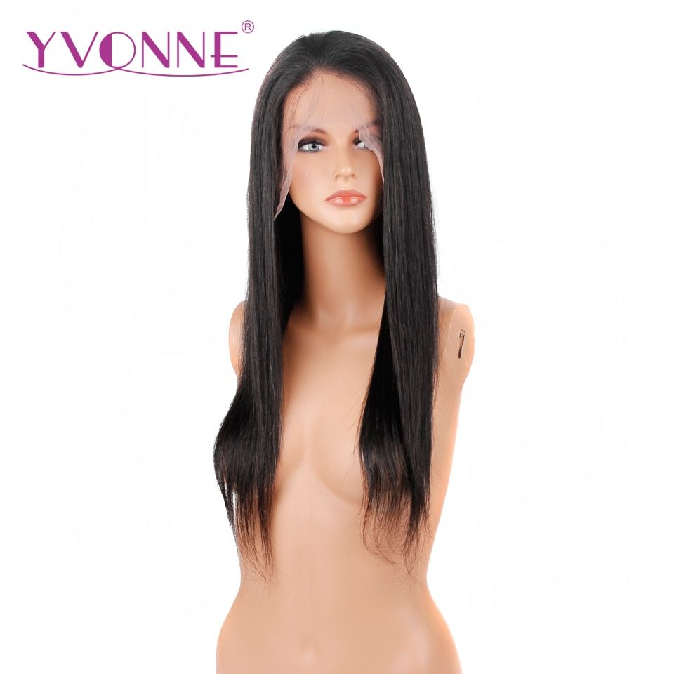 YVONNE Straight Full Lace Human Hair Wigs Brazilian Virgin Hair 180% Density Natural Color Free Shipping