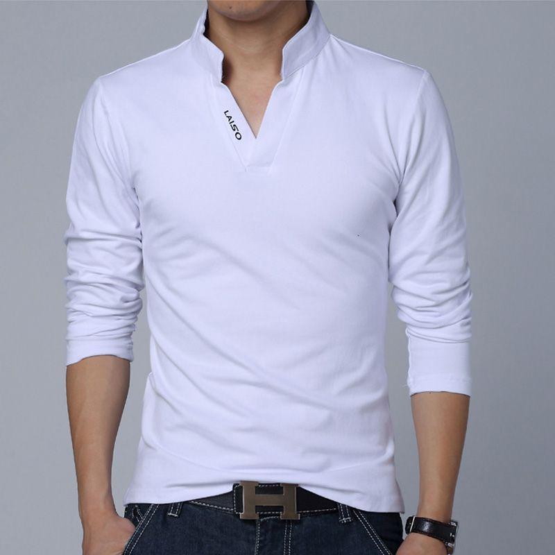 Vente chaude 2019 nouvelle marque de mode hommes vêtements solide couleur à manches longues Slim Fit polos hommes coton polos livraison gratuite
