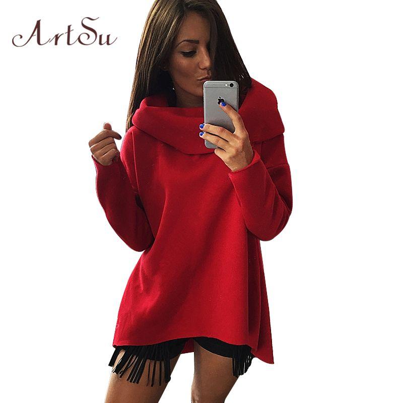 ArtSu femmes hiver Hoodies écharpe col à manches longues mode Style décontracté automne Sweatshirts 2017 S-XL EPHO80216