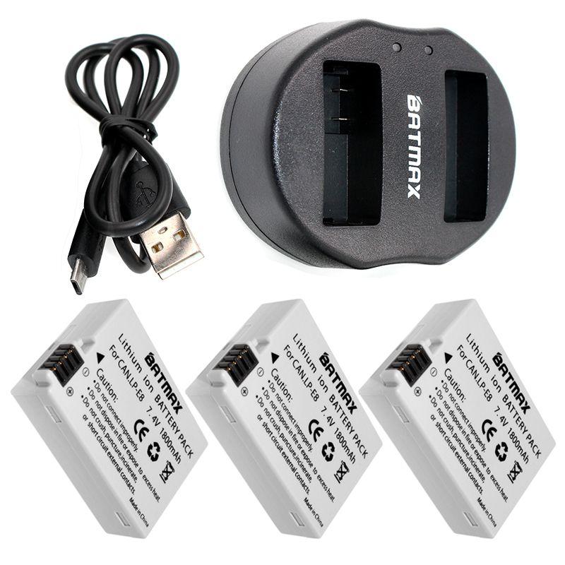 3PCS Digital Batteries Li-ion LP-E8 LP E8 Battery Pack + Dual USB Charger for Canon LP-E8 EOS 550D, 600D, 650D, 700D