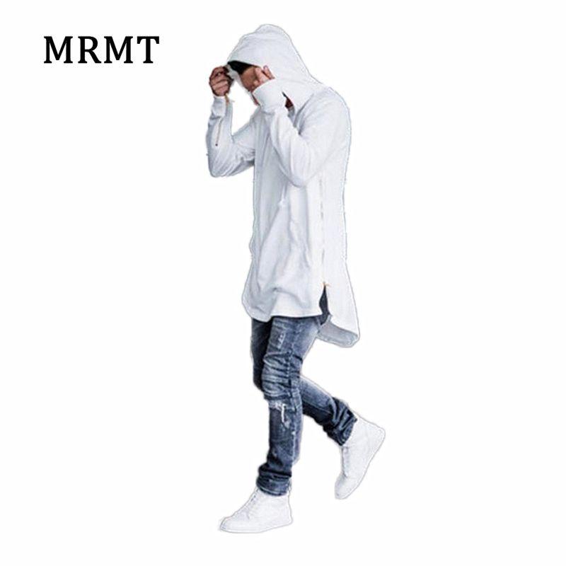 2018 Brand new Clothing Mens Hoodies Sweatshirts High street Long Zipper Sweatshirt Cut Extended Hoody Men male shirts