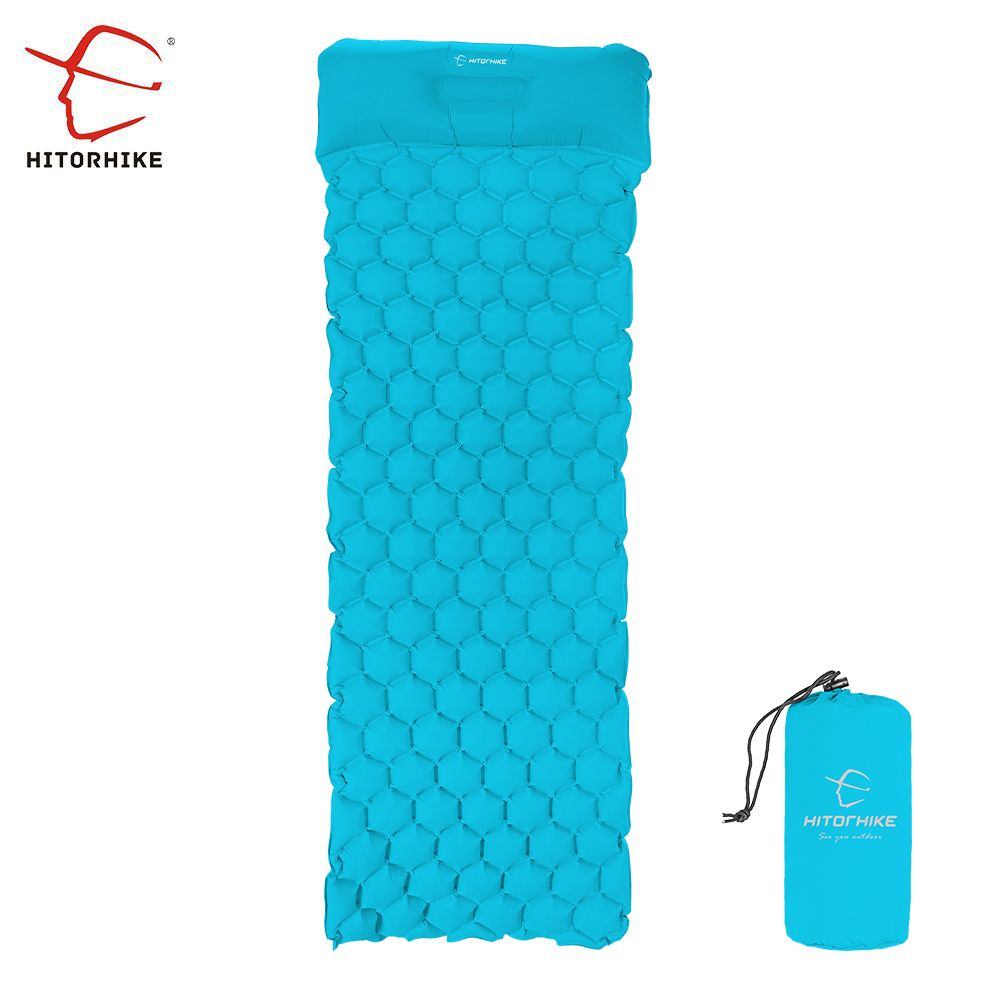 Inflatable Sleeping Pad Camping Mat With Pillow Outdoor Inflatable Cushion Sleeping Bag Mat Fast Filling Air Moistureproof 522g