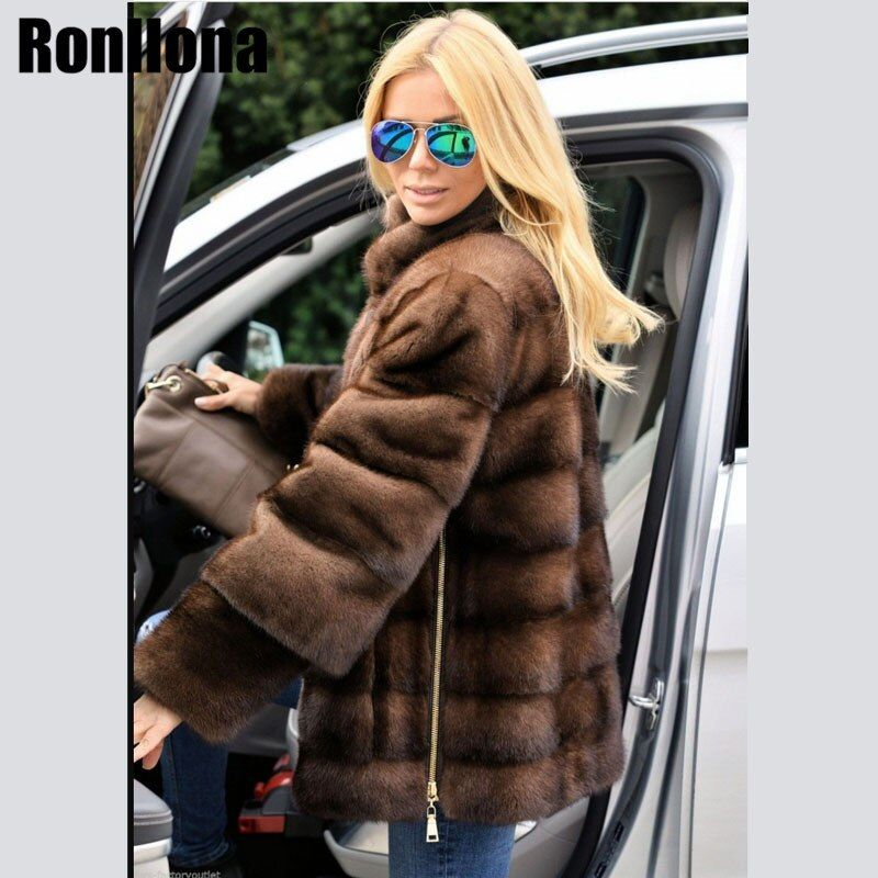 2018 New Real Mink Fur Coat Stand Collar With Side Zipper Detachable Sleeve Jacket Women Fur Genuine Outwear Winter Coat MKW-073