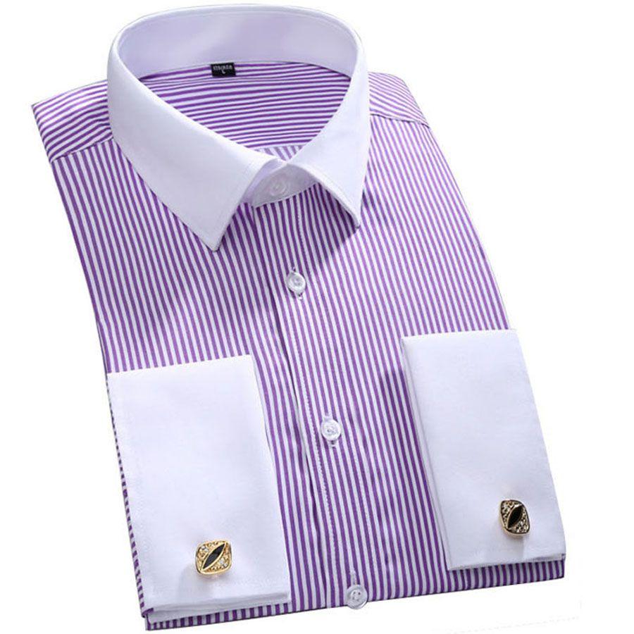 JeeToo Brand French Cuff Mens Dress Shirts Long Sleeve Men Shirt Slim Fit Mens Tuxedo Shirt Striped Men Casual Shirts Wedding