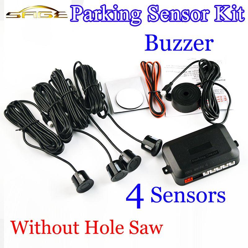 4 Sensors Buzzer No Drill Hole Saw 22mm Car Parking Sensor Kit Reverse Radar Sound Alert Indicator System 8 Colors