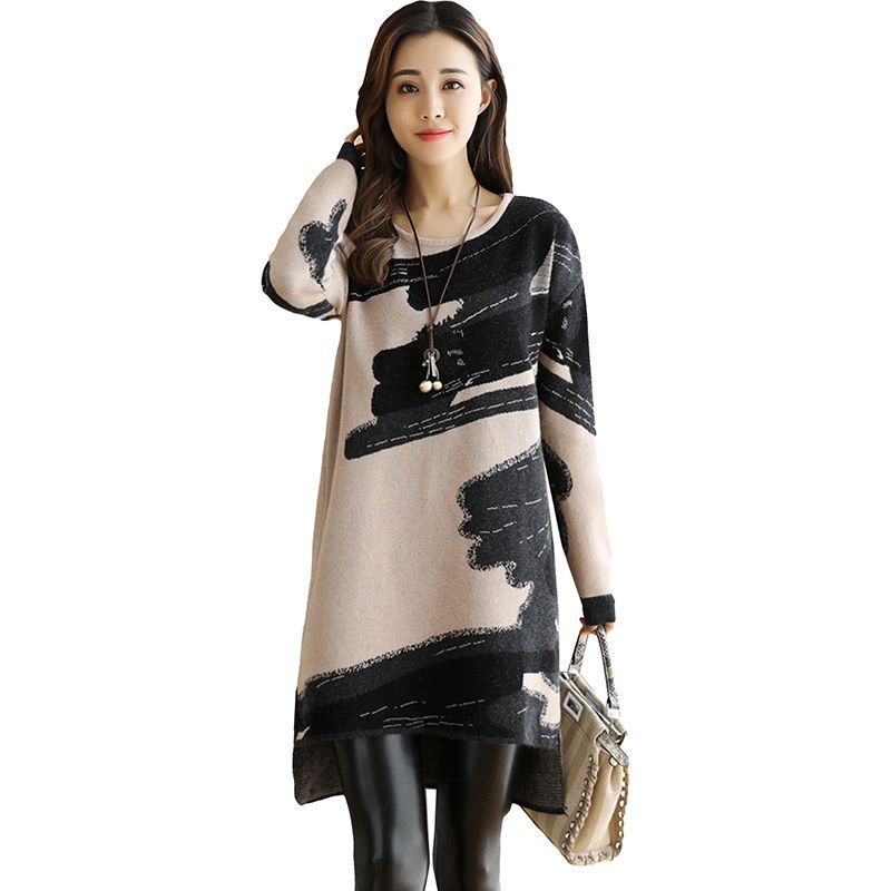 Long Sleeve Print Knitted Dress 2017 New Autumn Winter High Quality Cashmere Sweater Dresses Loose Warm Winter Bottoming Dress