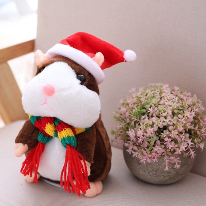 2017 Hot Sale Christmas style 15cm Kawaii Russian Talking Hamster Plush Toy Sound Record Plush Hamster Stuffed Toys for kids
