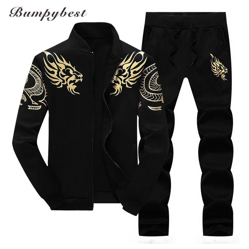 Bumpybeast Zipper Jacket+Pant Polo Set 2017 Casual Men Sporting Suit Hoodie Men's Tracksuit Sweatshirt Male Two Pieces Set
