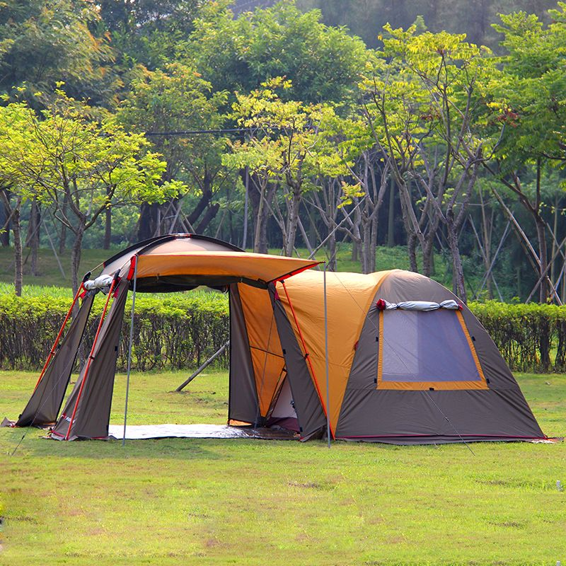 Ultralarge 5-8 Person One Hall One Bedroom Double Layer Strong Waterproof Windproof Family Size Party Camping Tent Festival Tent