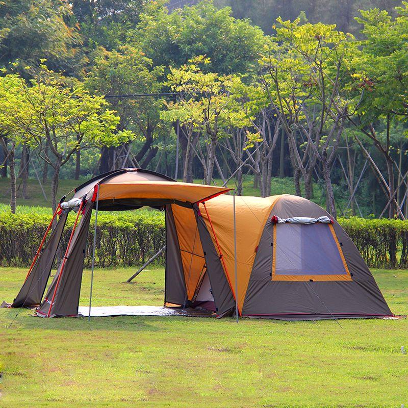 Ultralarge 5-8 persona una sala de un dormitorio doble capa fuerte viento impermeable tamaño de la familia carpa de camping Festival tienda