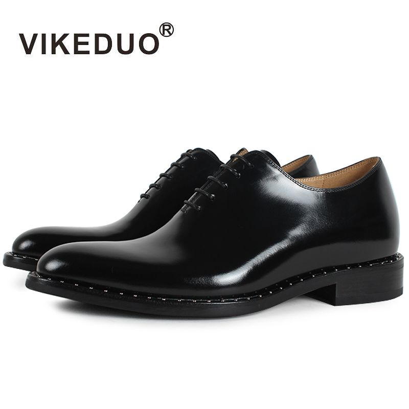 Vikeduo 2018 Flat Handmade Black Designer Lace-up Luxury Business Work Dance Male Shoe Genuine Leather Mens Oxford Dress Shoes