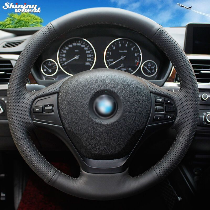 Shining wheat Hand-stitched Black Genuine Leather Car Steering Wheel Cover for BMW F30 316i 320i 328i