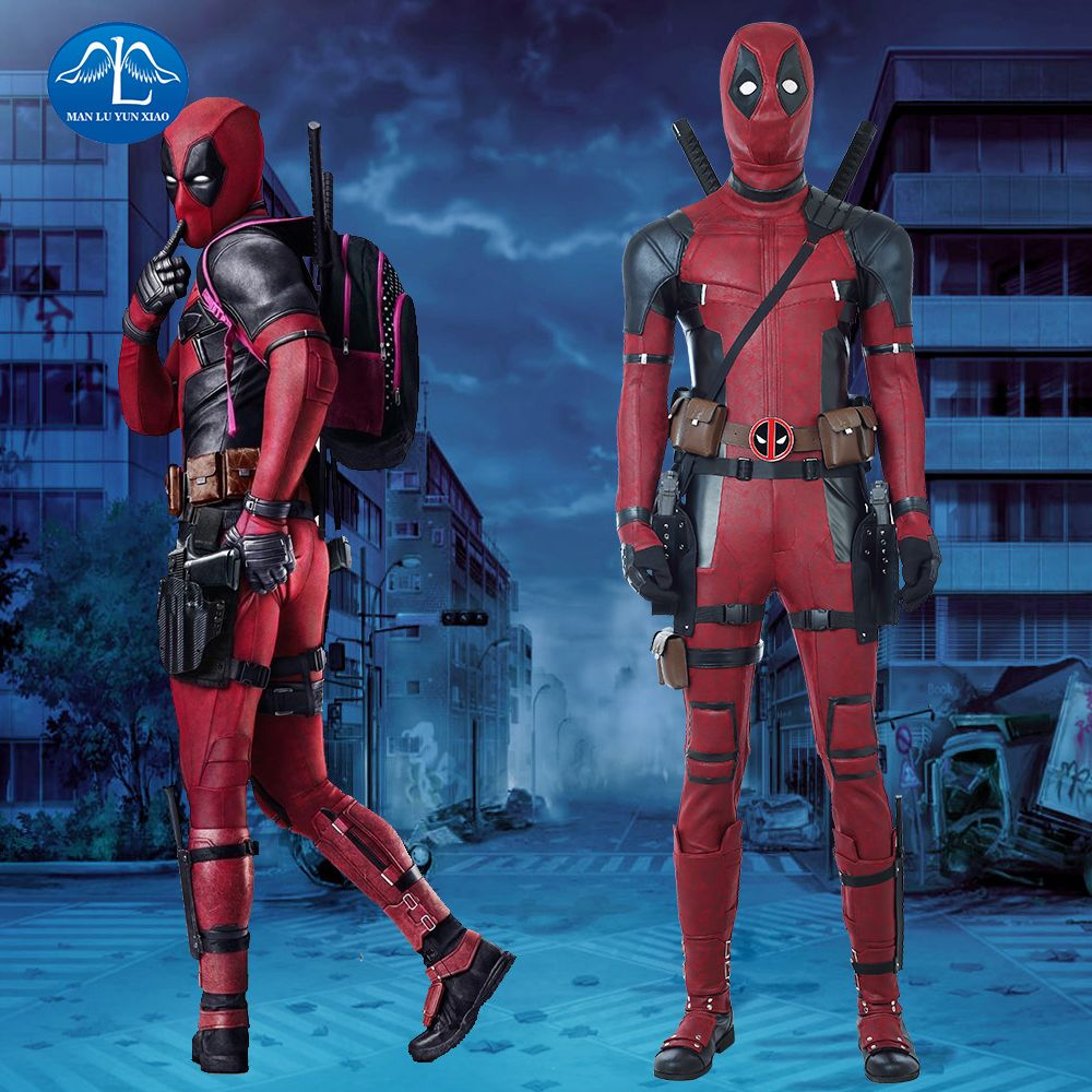 2018 Movie Deadpool 2 Costume Halloween Deadpool Costume For Men Red Jumpsuit With Boots Custom Made Deadpool Cosplay Costume