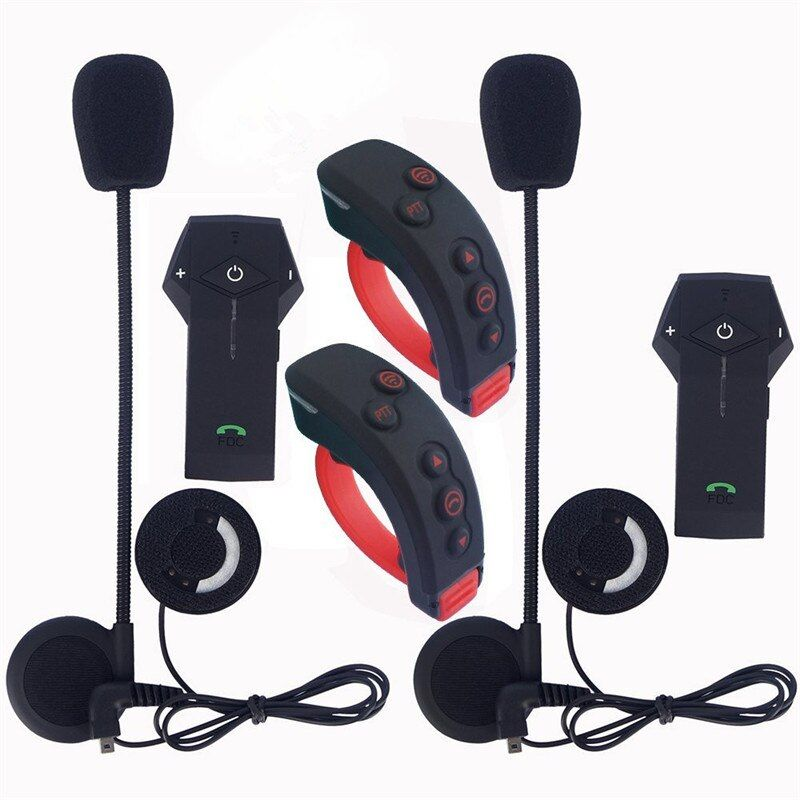 2Pcs/Lot New 1000m Bluetooth Motorcycle Helmet Full-duplex Intercom Headset BT Interphone Earphones with Remote Control NFC FM