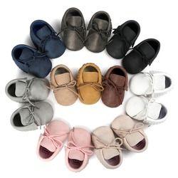 2018 otoño/primavera zapatos de bebé niños recién nacidos niñas PU cuero mocasines lentejuelas zapatos andadores 0-18 M S2